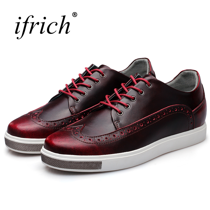 Ifrich New Arrival Mens Shoes Genuine Cow Leather Brogue Shoes Male Lace Up Low Top Wine Blue Sneakers for Men