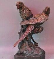 bi003809 14 Bronze Copper Animal Bird Parrot Magpie Sculpture Statue