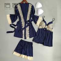 Women Pyjamas Lace Sexy Sleepwear Female Summer Fashion Satin Pajamas For Women Kimono HIgh Quality Elegant