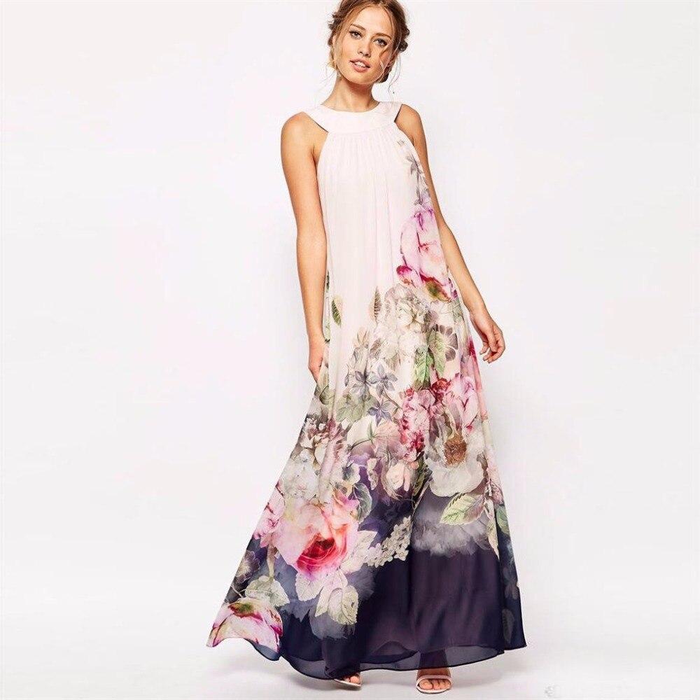 0c3d74eac102ed7 ᗚЛето 2017 г. платье Цветочный принт Макси платья Для женщин Beach ...