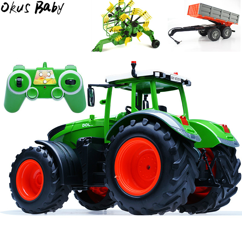 RC Truck Trailer Dump Harvest 4 Wheel RC Tractor 2.4G Remote Control Tractor Engineering Vehicles Model Toys For Children Gifts