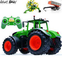 RC Truck Trailer Dump Harvest 4 Wheel RC Tractor 2.4G Remote Control Tractor Engineering Vehicles Model Toys For Children Gifts(China)