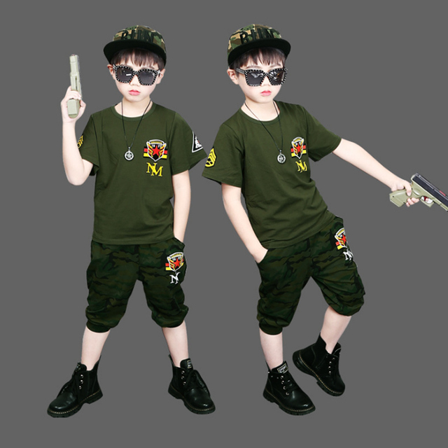 2019 Children Short sleeve Clothing Set Baby Boy Hero Camouflage Shirt+Pants Kids Outfits 2PC Sports Suit Clothes For Boy