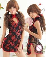 Seksi Cheongsam Lingerie Kadın Babydoll için Pijama Cheongsam Kimono Kostüm Set Lingerie