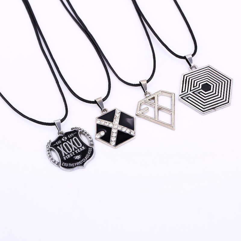 KPOP Star Jewelry EXO Logo Pendant Necklace Leather Cord Fan Necklace Overdose KRIS KAI XIUMIN Free Shipping Fans Gift Wholesale