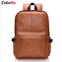 Zebella New Men Backpack PU Leather Bags Men's Shoulder Bags Fashion Men Business Casual School Boys Vintage Kanken Mochila Bag