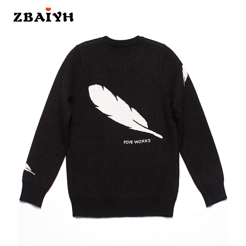 Baby knitted Sweater boys warm wool pullovers kids sweaters jumpers for girls clothes Feathers Pattern fashion children Clothing