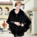 Luxo Inverno Genuine Natural Malha Mink Stole com Hoody das Mulheres Irritar Hem Lady Xaile Quente Envoltório VF0322