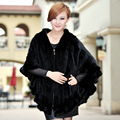 Luxury Winter Women's Genuine Natural Knitted Mink Fur Stole with Hoody Ruffle Hem Lady Warm Shawl Wrap VF0322