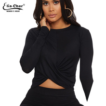 Modal tshirt sexy pleated decoration stretch tight black nightclub party long sleeve 9088
