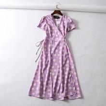 Vintage flower dot print wrap dress women short sleeve chiff