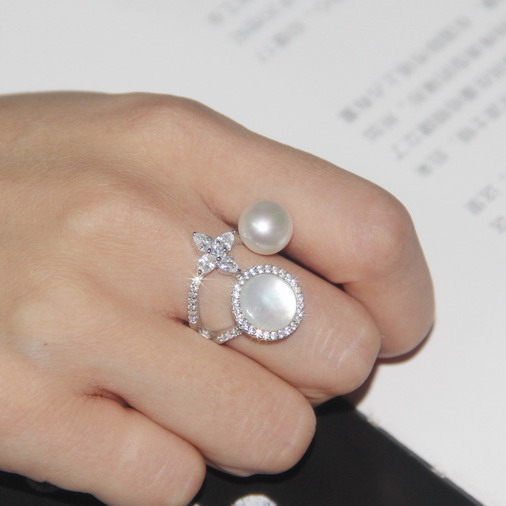 new 925 sterling silver jewelry zirconia flower star mother of pearl rings jewellery bague femme for