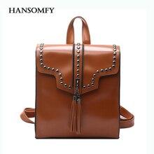 Hansomfy кисточки заклепки женщины рюкзак кожа опрятный топ-ручка путешествия сумки на ремне рюкзака мода многоцелевые рюкзаки