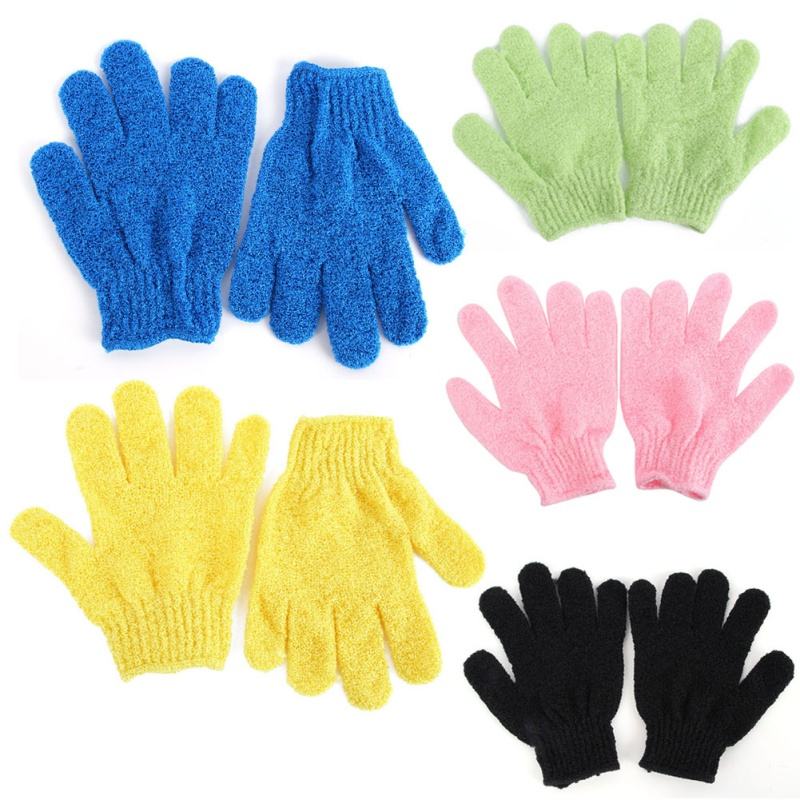 1 Pair Shower Bath Gloves Exfoliating Wash Skin Spa Massage Scrub Body Scrubber Glove 9 Colors (Random Color) kustie body care body wash nature floral petals rose shower