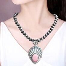 Neue europäische und amerikanische grüne Stein Halskette Silberdraht Zeichnung Perlen Halskette Qualität Retro-Kleidung Anhänger Halskette