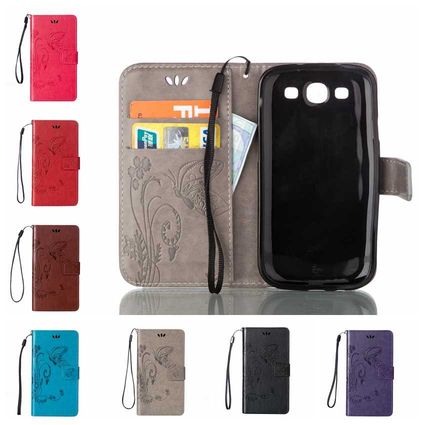 For Samsung Grand Neo Plus Case Butterfly Cases For Samsung Galaxy Grand Duos GT-I9060 i9060i i9082 Leather Wallet Case