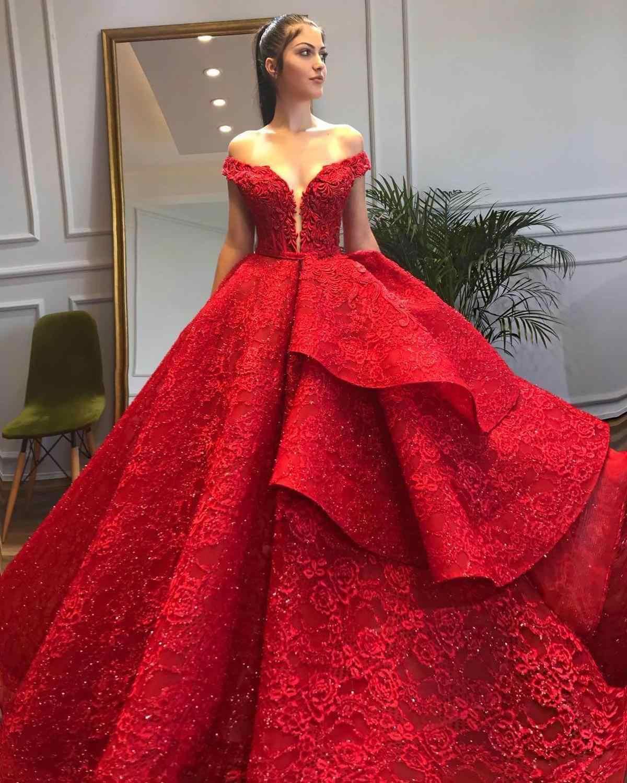 יוקרה נוצץ תחרה חתונה שמלה סקסית כבוי כתף V-צוואר כדור שמלת כלה שמלות תחרה עד בחזרה ראפלס חתונה שמלה