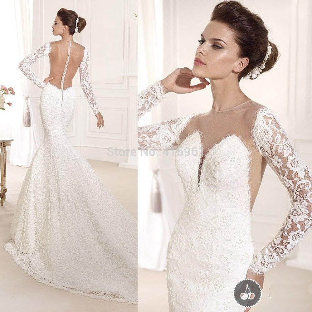 2019 Lace Long Sleeves Bridal Dresses Mermaid Backless Wedding Gowns vestido de noiva robe de mariee Marriage wedding dress