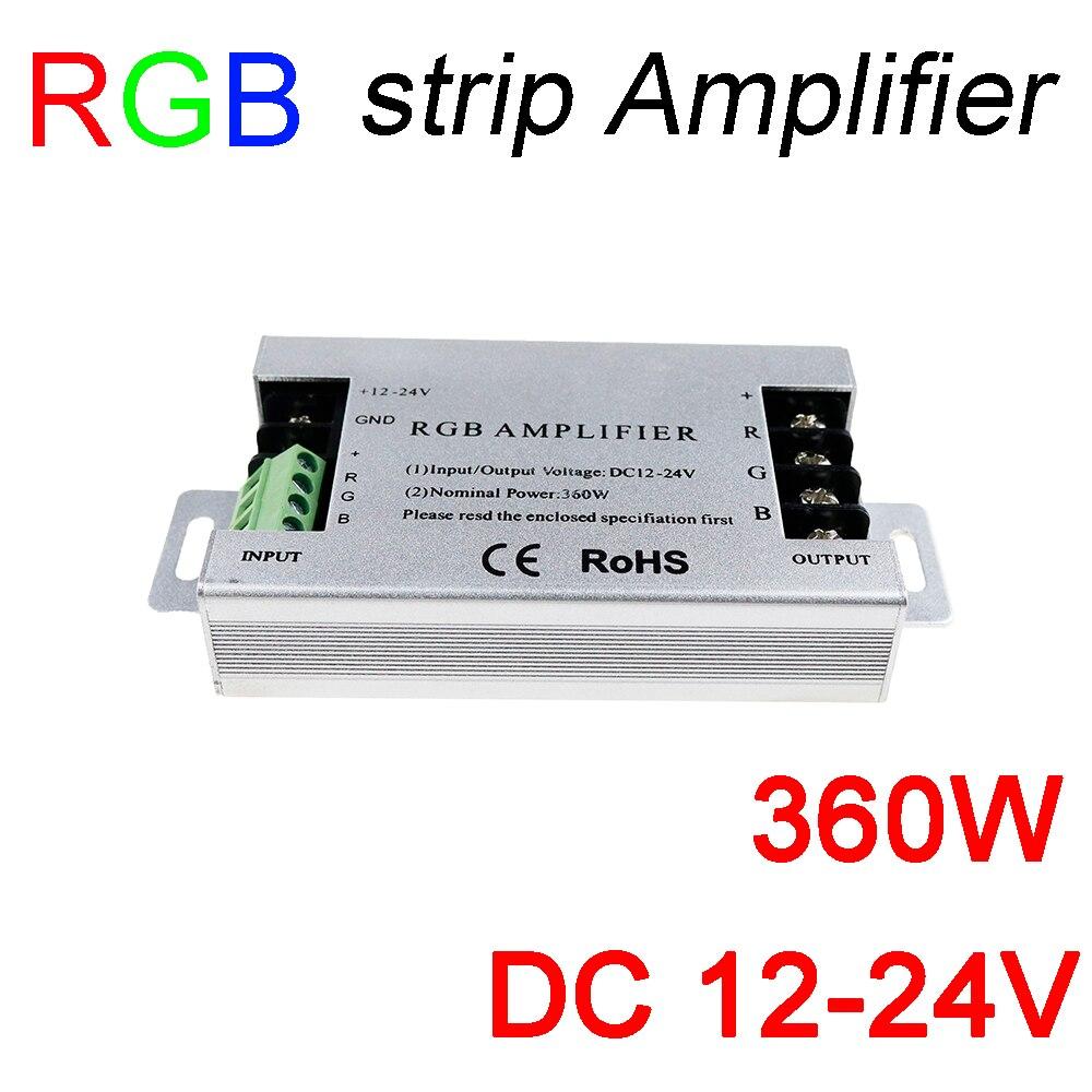360 W led RGB amplificatore DC12V 30A Alluminio RGB amplificatore striscia DC12-24V per Per segnale RGB SMD5050 3528 LED light Strip amplificatore