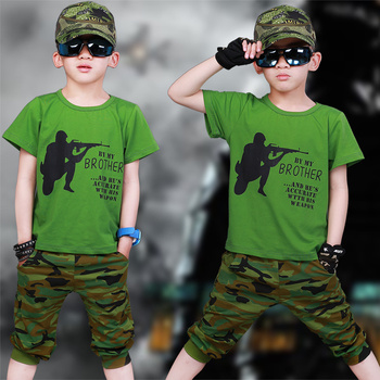 New Kids Clothing Set Summer Boys Camouflage Clothes 3 4 6 7 8 9 10 12 Years Short Sleeve Cotton Children Clothing Sets For Boy