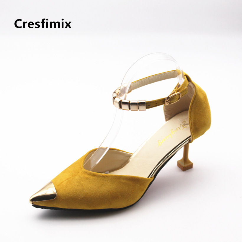 Cresfimix women sexy party night club high heel shoes lady cute pointed toe high heel pumps female casual yellow 7cm heel shoes women high quality pu leather waterproof platform shoes lady cute and sexy party slip on pumps female office high heel shoes