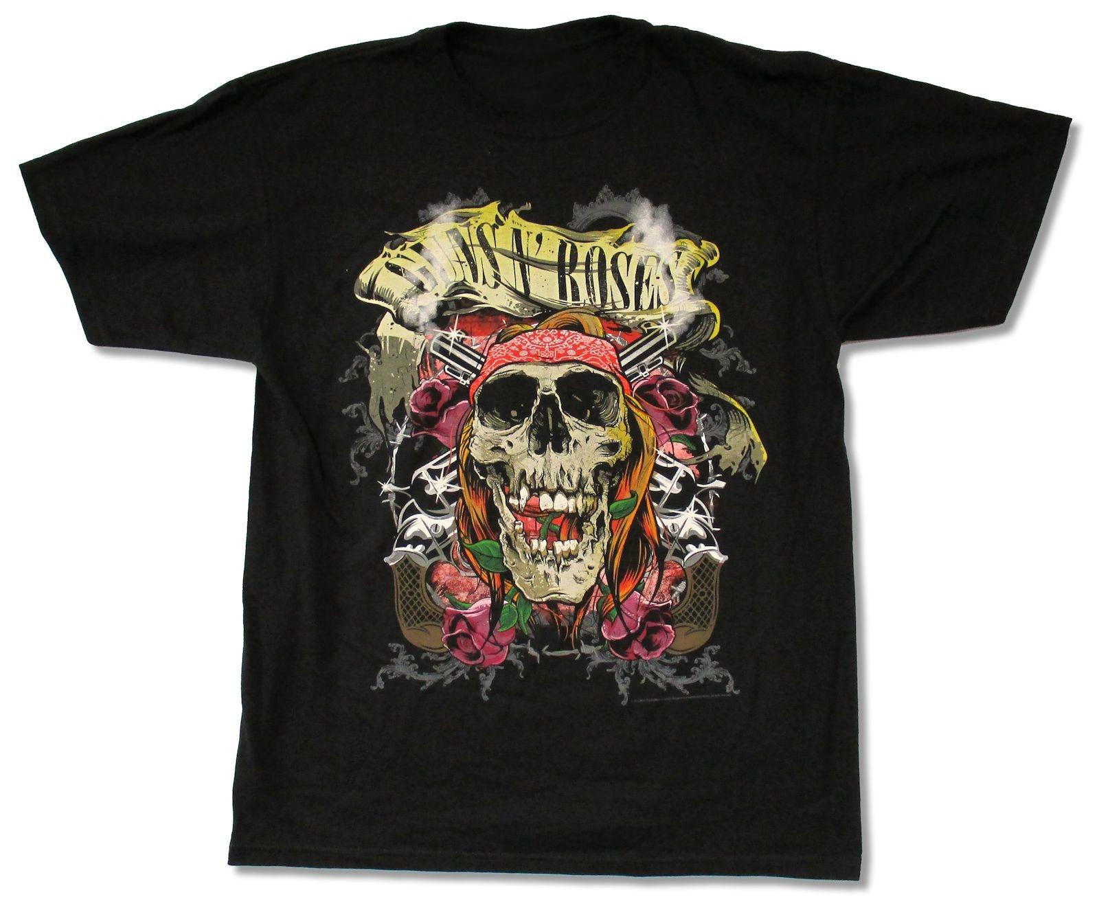 Top O Neck Short Sleeve Guns N Roses Trashy Skull 2013 Tour Black T Shirt New Official Adult New Mens T Shirt Brands