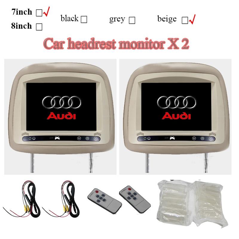 2 stücke auto monitor 7 zoll für audi A3 A4 A6 A4L A6L Q5 Q7 mit touch-taste 2AV eingang auto lcd hinten sitz unterhaltung tft monitor