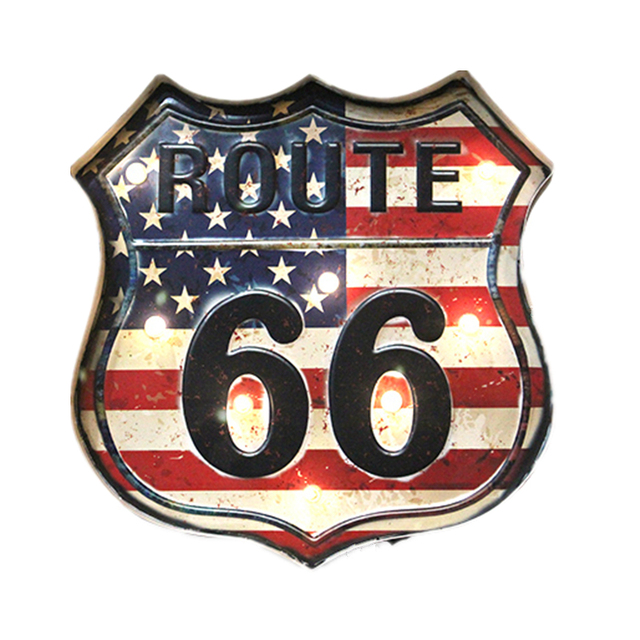 American Route 66 Neon Signs Home Decor Vintage US Flag LED Light  Illuminated Signage For Bar