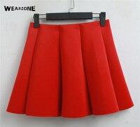 2017 New Spring Summer Neoprene New Space Cotton Elastic Force High Waist Skirts Pleated Skirt Women
