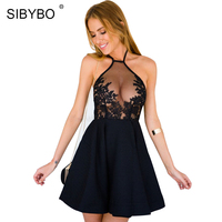 SIBYBO White Black Sexy Backless Mesh Lace Dress Women 2017 Vintage Halter Floral Summer Beach Party