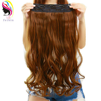 цена на Feibin 5Clips In Hair Extensions Synthetic Hair Piece Long 60cm 24 inches Heat Resistant Free Shipping