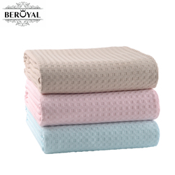 Beroyal Brand Pink 150x200cm Summer Cotton Bed Cover Blankets for Beds Waffle Plaid Cotton Throw Blankets for Adults for Sofa