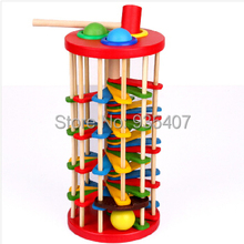 Children's wooden colored balls to knock off the ladder to knock the ball toy baby color drop ball game 2-3-5 years
