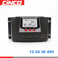 80 60 50 30 A AMP 12V 24V 36V 48V Solar Charge Controller PWM Solar battery charger PV Regulators with LCD Display 5V Two USB