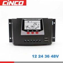 80 60 50 30 EINE AMP 12 V 24 V 36 V 48 V Solar Laderegler PWM Solar batterie ladegerät PV Regler mit LCD Display 5 V Zwei USB