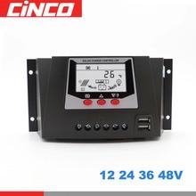 Contrôleur de Charge solaire, 12V, 24V, 36V, 48V, régulateur de Charge pour batterie, PWM, régulateur de Charge solaire avec écran LCD, 2 ports USB 5V