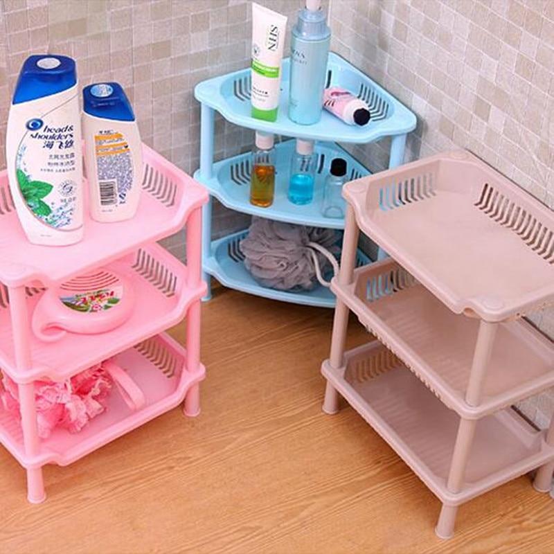 DIY 3 layers rectangular perforated Cosmetic Wall Corner Shelf ...