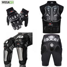 WOSAWE Motorcycle Jacket Chest protect Back Support Body Armor Motocross Off-Road Hip Pad Alloy Steel Gloves Kneepad