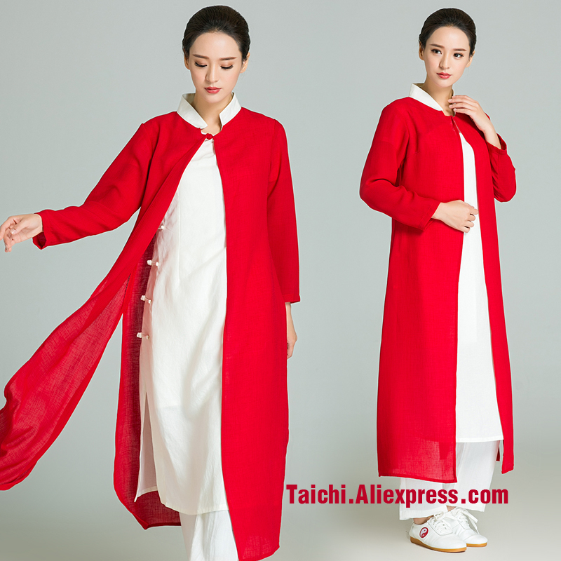 Handmade Linen Tai Chi Uniform Wushu  Kung Fu Martial Art Suit A Set Tai Chi Veil And Uniform  Can Be Custom Made