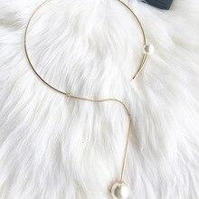 Новое поступление, женское металлическое круглое ожерелье, золотое ожерелье-воротник, ожерелье с имитацией жемчуга
