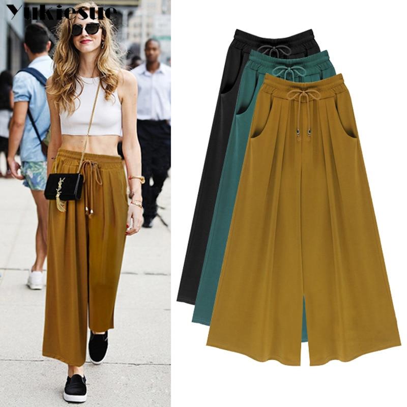 streetwear chiffon women's   pants   capris with high waist   wide     leg     pants   pleated for women trousers woman   pants   female Plus size