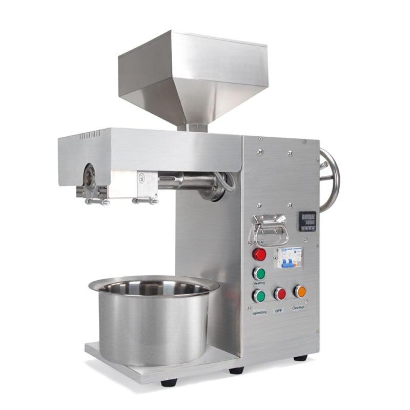 Prensadora de aceite para el hogar Mini máquina de prensa de aceite de acero inoxidable control de temperatura exprimidor físico frío y caliente Sasame linaza automática