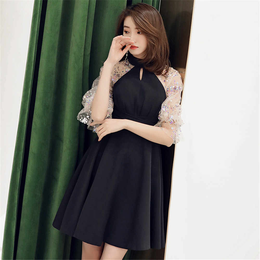 Cheongsam Половина Водолазка Леди Формальное вечернее платье с пышными рукавами Новинка Лук Вечернее Платье Блестки Bling вечерние платья макси