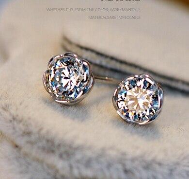 Free Shipping Luxury 0.5 Carat Simulated Dia mond Earrings Women Fine  Sterling Silver Jewelry Earring girl 499a628b7f57