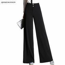 купить Elegant Office Ladies Wide Leg Pants High Waisted Spring Autumn Long Black Pants Women Double Buttons Palazzo Pants Trousers дешево
