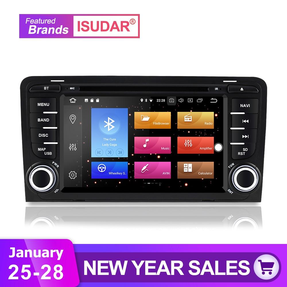 Isudar Voiture lecteur multimédia 2 din autoradio GPS Android 8.0.0 Pour A3/S3/Audi 2002-2013 Arrière Vue caméra Microphone DSP USB DVR