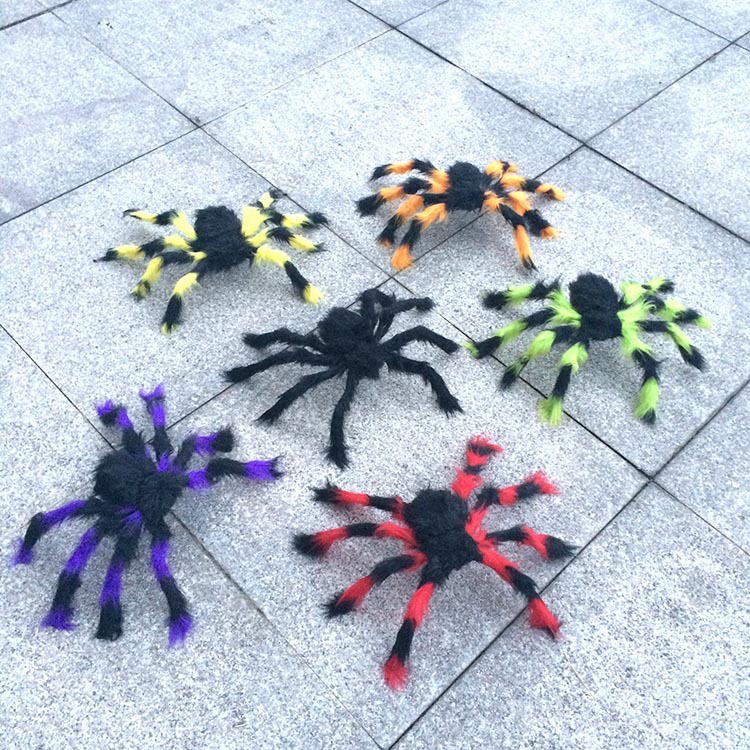 top selling halloween spider 50cm large blackcolorful spider plush puppet toys halloween decoration