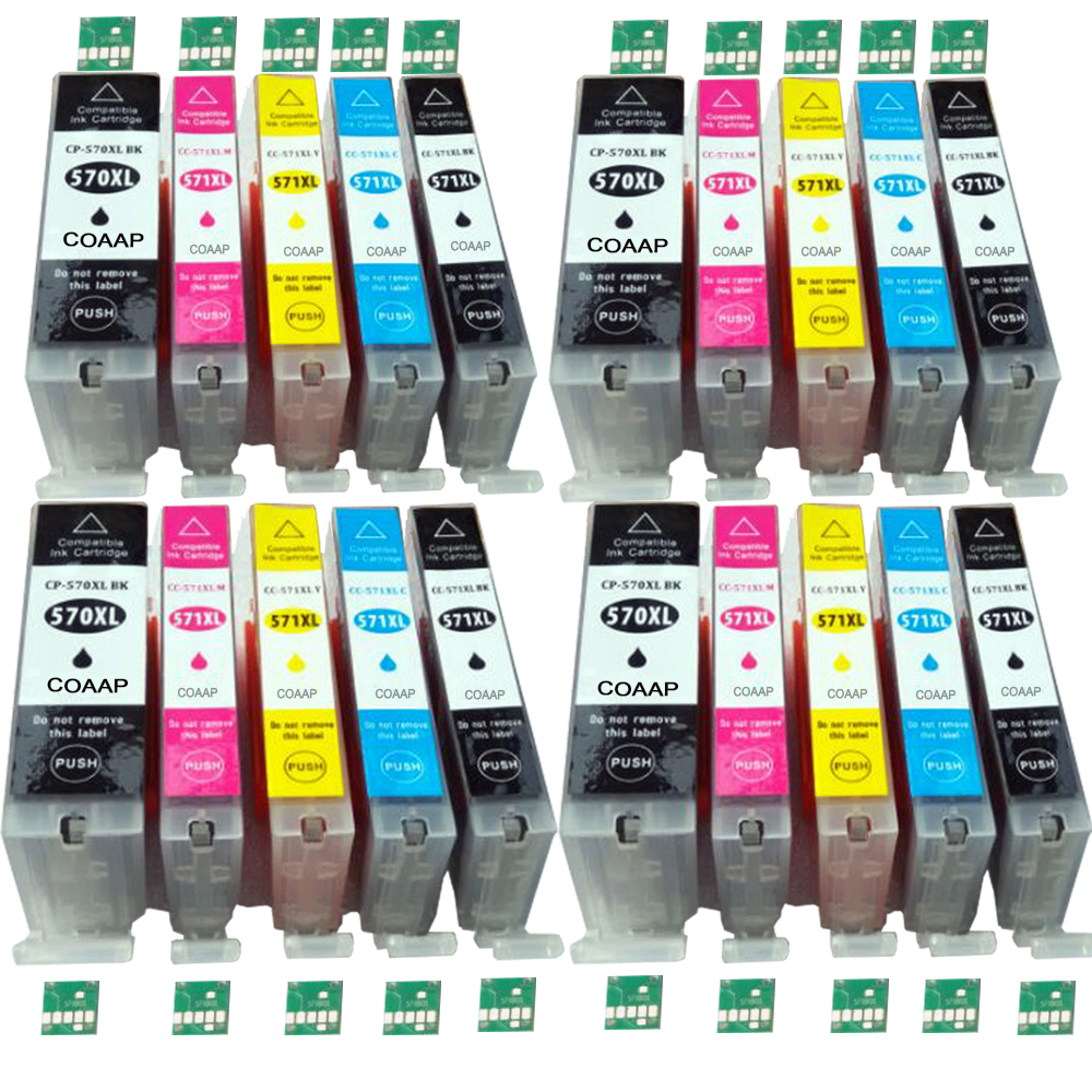 20 XL Compatible pgi570 cli571 ink Cartridges for Canon 570XL 571XL Pixma MG 5750 5751 5752