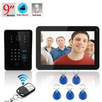 Freies Verschiffen! ENNIO 9 zoll 900TVL Farbe Passwort Rekord Video Tür Sprechanlage mit Tastatur Drahtlose Fernbedienung Entsperren