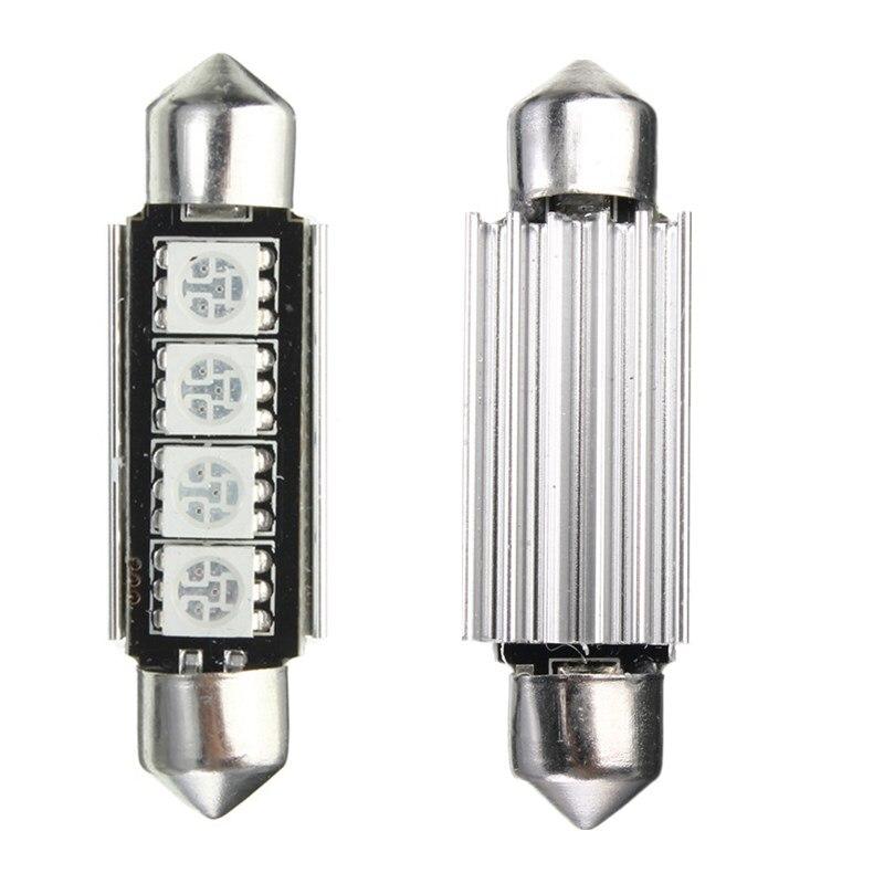 2x Red 4-SMD 5050 LED Map/Dome Interior Light Bulb 42MM Festoon 2.2W DV 12V